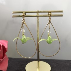 ORIGAMI Crane Earrings (Green/ Gold)