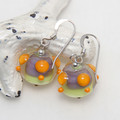 Orange Purple Lime Lampwork Glass Bead Sterling Silver Earrings Jewellery