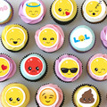Emoji Emoticon Mini Edible Cupcake Toppers - Pre-cut Sheet of 30 - EI034MC