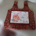 Recycled Folding Tote with hand dyed and stencilled pocket panel