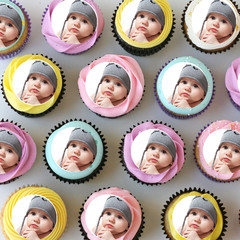 Photo Personalised Mini Edible Cupcake Toppers - Pre-cut Sheet of 30 - EI016MC