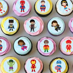 Superhero Mini Edible Cupcake Toppers - Pre-cut Sheet of 30 - EI024MC