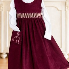 281 Hand-smocked needlecord cotton sleeveless pinafore dress, age 6, in burgundy