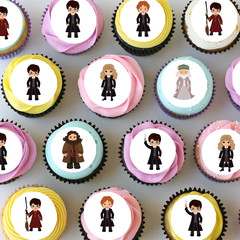Harry Potter Inspired Mini Edible Cupcake Toppers - Pre-cut Sheet of 30 -EI035MC