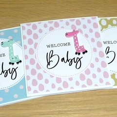 New Baby card - giraffe - pink blue or green!