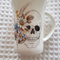 Hand painted skull mug