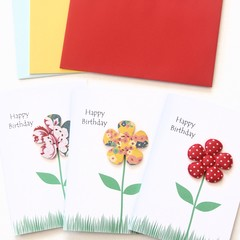 FREE POST | 3 Floral Birthday Cards | Yellow, Blue and Red