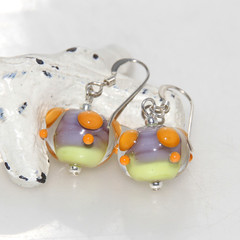 Spotted Orange Purple and Lime Lampwork Glass Bead Sterling Silver Earrings