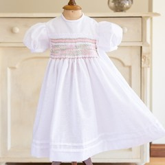 354 Hand-smocked cotton dress for age 12-18 months, with puff sleeves