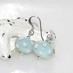 Duck Egg Blue and White Polkadot Lampwork Glass Bead Sterling Silver Earrings