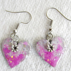 Resin  Drop Heart earrings