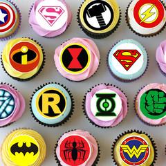 Superhero Logo Mini Edible Cupcake Toppers - Pre-cut Sheet of 36 -EI037MC