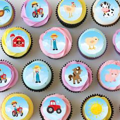 Farm Farmyard Mini Edible Cupcake Toppers - Pre-cut Sheet of 30 - EI028MC