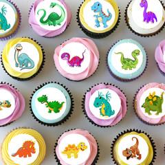 Dinosaur Dinosaurs Mini Edible Cupcake Toppers - Pre-cut Sheet of 30 - EI026MC