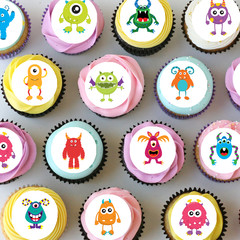 Monsters Monster Mini Edible Cupcake Toppers - Pre-cut Sheet of 30 - EI018MC