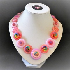 Ladies Button necklace - Pink Swirls