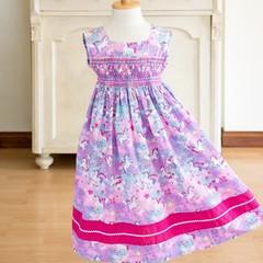 368 Hand-smocked sleeveless cotton dress, age 4 to 5, unicorns, rainbows, stars