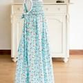 315 Hand-smocked cotton sleeveless dress, age 6 to 7, goldfish on aqua and white