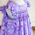 367 Hand-smocked cotton dress for age 3-4, featuring Elsa from Frozen