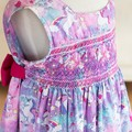 368 Hand-smocked sleeveless cotton dress, age 4 to 5, unicorns, rainbows, stars