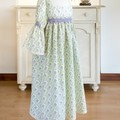 378 Handmade girls' smock in soft organic cotton, age 10, mauve and green floral