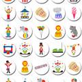 Circus Carnival Mini Edible Cupcake Toppers - Pre-cut Sheet of 30 - EI023MC