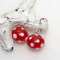 Red and White Polkadot Lampwork Glass Bead Sterling Silver Earrings