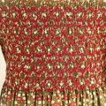 275 Hand-smocked long-sleeved cotton winter dress, age 5 to 6, fruit and floral