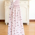 333 Hand-smocked cotton sleeveless dress, age 8, birds and flowers in dusky pink