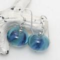 Ocean Swish Blue Lampwork Glass Bead Sterling Silver Earrings