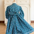 340 Hand-smocked long-sleeved cotton dress, age 3, blue and red floral print