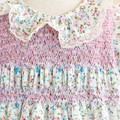 266 Hand-smocked cotton lawn dress, age 3 to 4, floral print in blue and pink