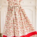 261 Hand-smocked cotton dress, age 7 to 8, strawberries, peaches and flowers