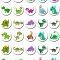 Dinosaur Dinosaurs Mini Edible Cupcake Toppers - Pre-cut Sheet of 30 - EI026MC