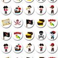 Pirate Pirates Mini Edible Cupcake Toppers - Pre-cut Sheet of 36 -EI035MC