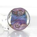 Purple with Blue Lustre Lampwork Glass Bead Swirly Focal