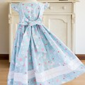 311 Hand-smocked cotton dress, age 4 to 5, rabbit print in shades of pale blue