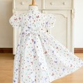 346 Hand-smocked cotton voile dress, age 2 to 3, butterflies, ladybirds, flowers
