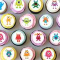 Monsters Monster Mini Edible Cupcake Toppers - Pre-cut Sheet of 30 - EI018MC