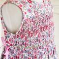 365 Hand-smocked cotton sleeveless dress for age 7 to 8, wrap-around skirt