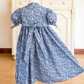 331 Hand-smocked cotton lawn dress, age 3, with split puff sleeves, floral print