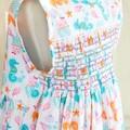 369 Hand-smocked sleeveless cotton dress, age 5-6, multicoloured sea creatures