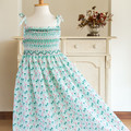 285 Hand-smocked cotton sundress, age 8 to 9, peppermint green with flamingos
