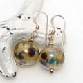 Lampwork Glass Bead 14kt Rolled Gold Earrings Blue Brown Caramel Jewellery