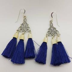 Celtic inspired sterling silver navy blue tassel earrings