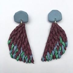 Polymer Clay Earrings - Statement Earrings Feathers