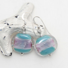 Turquoise Pink with Silver Bubbles Lampwork Glass Bead Sterling Silver Earrings