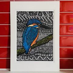 Australian Birds - Azure Kingfisher 2/25 -  Linoprint - Watercolour