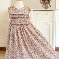 348 Hand-smocked cotton lawn dress, age 5 to 6, burgundy Paisley print