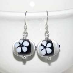 Black with White Daisy Lampwork Glass Bead Sterling Silver Earrings